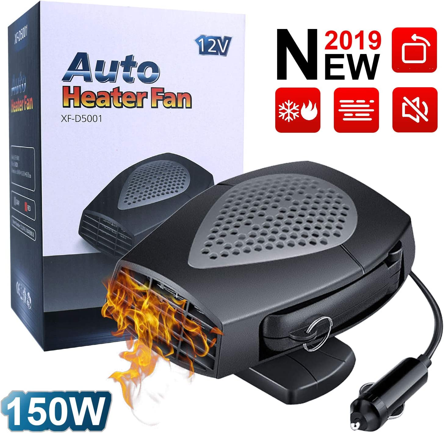 Car Heater - 12V 150W Portable Automobile Windscreen Fan with Heating and Cooling 2 in 1 Modes for Fast Heating Defrost Defogger, 3-Outlet Plug in Cigarette Lighter (Black)