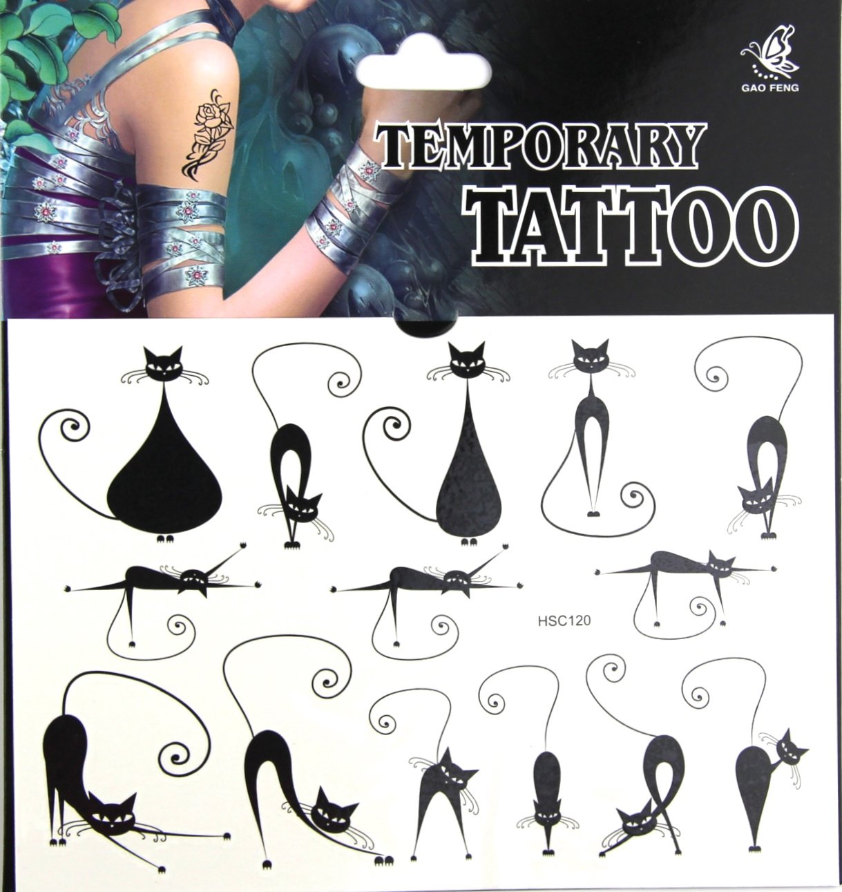 Cute Gato Negro Tatuajes flash temporal falso tatuaje pegatinas de ...