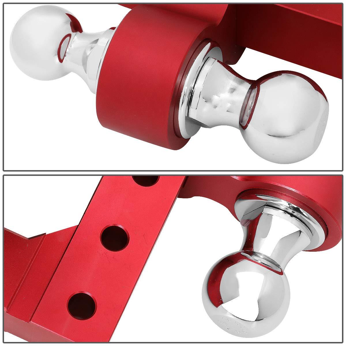 DNA MOTORING HITCH-ALU-001-RD Aluminum 6 Drop Adjustable Dual Ball Trailer Towing Hitch