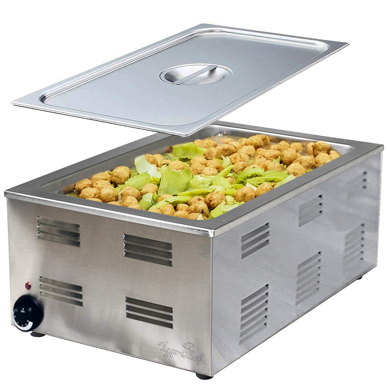 Tiger Chef Food Warmer - Full Size Countertop Food Warmers - Commercial Electric Steam Table for Buffet - Includes Steam Table Pan Cover by Tiger Chef