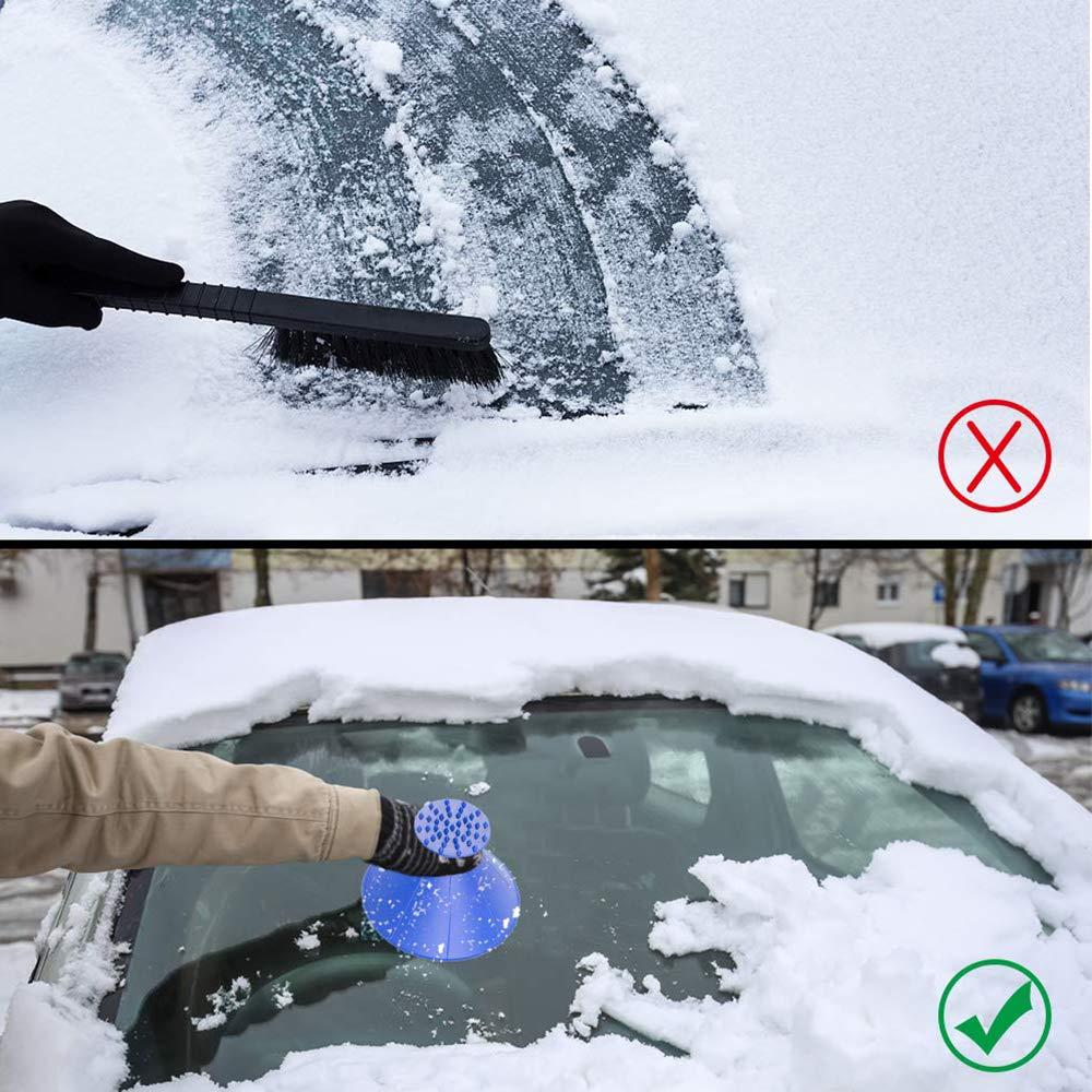 1 Blue+1 Towel Scrape A Round Ice Scraper 2 in 1 Car Windshield Snow Scraper Magic Cone-Shaped Windshield Ice Scraper with 1 Bonus Car Drying Towel