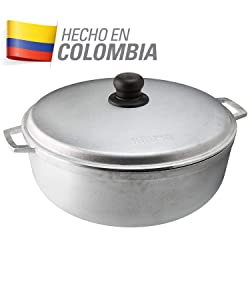 IMUSA USA GAU-80505W Traditional Aluminum Colombian Natural Caldero (Dutch Oven)4.8-Quart, Silver