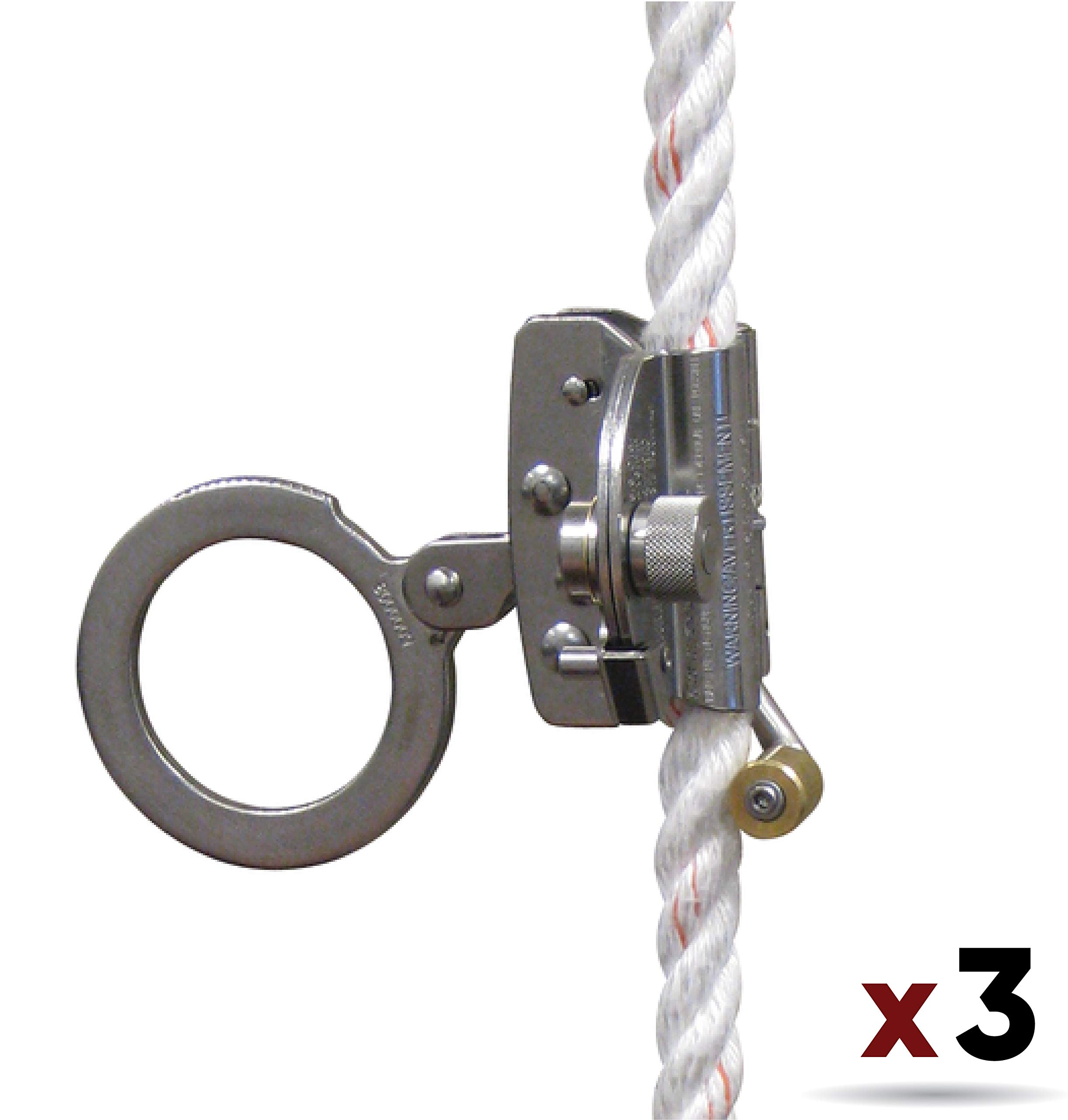 3M Protecta 5000003 Rope Grab for 5/8'' Polyester/Polypropylene Rope, Silver (3 Pack) by 3M Fall Protection Business