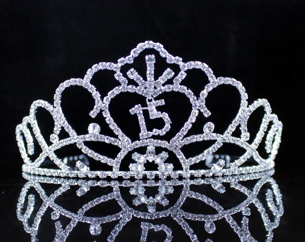 Janefashions QUINCEANERA SWEET 15 FIFTEEN RHINESTONE TIARA CROWN W/ HAIR COMBS BIRTHDAY PARTY T991