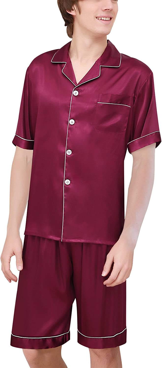 Mens Luxury Polyester Pajamas Short Button-Down Breathable Silk Sleepwear PJ Set