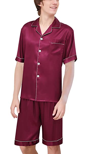 Yanqinger Hombre Seda Pijamas de 2 Piezas con Mangas Corta Verano Elegante Clásico Respirable Estampado Cuadros… Azsicj