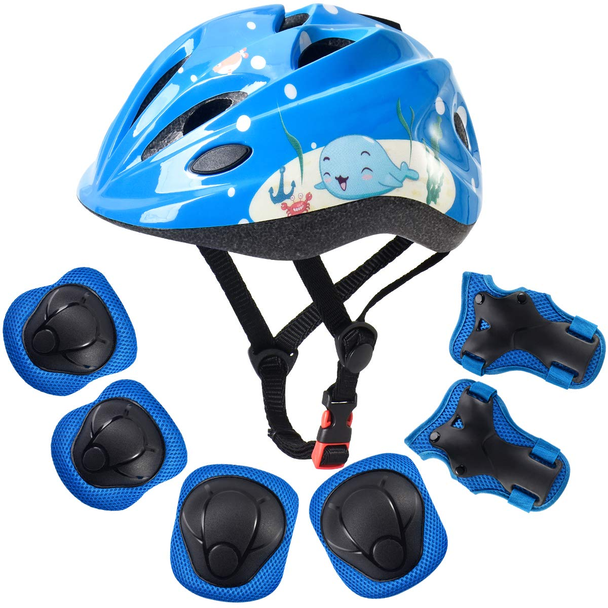 ArgoHome Kids Helmet Protective Gear Set Toddler Helmet Kids Knee Pads for 3-8 Years Toddler Youth Bike Skateboard Helmet Knee Elbow Wrist Pads for Roller Bicycle Bike Skateboard