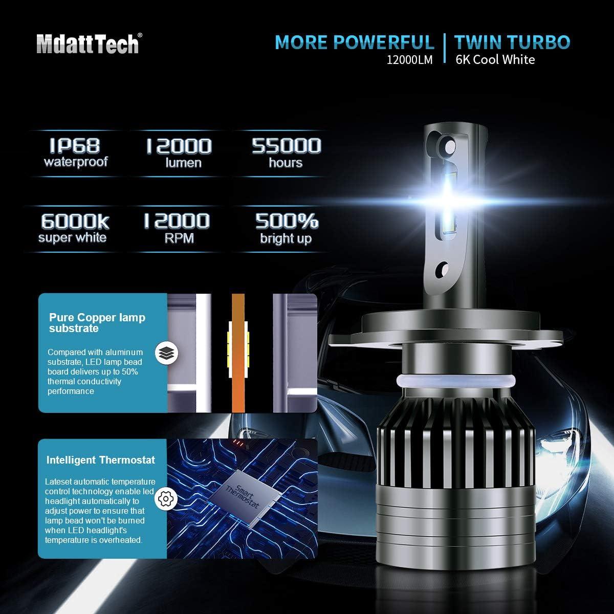 Mdatt 9007//HB5 LED Headlight Bulbs 12000LM LED Lamp 9007 High Low Beam,Fog Light Bulb Conversion Kit 360 Degree IP67