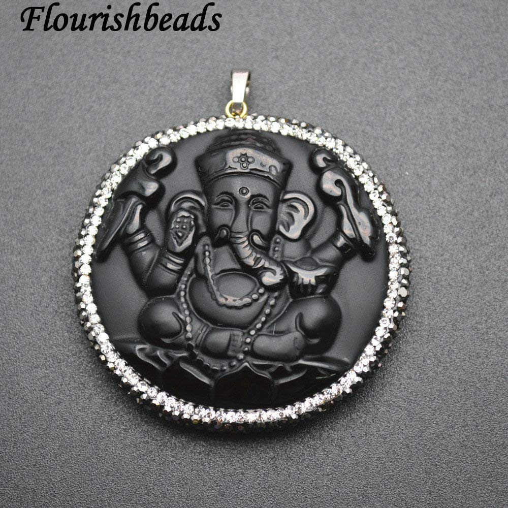 Natural Black Obsidian Carved Elephant Ganesha Stone Pendants Paved Black Crystal Beads Jewelry by DAVITU