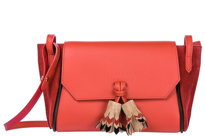 Longchamp Womens Leather Cross Body Messenger Shoulder Bag Red Quadry Handbags