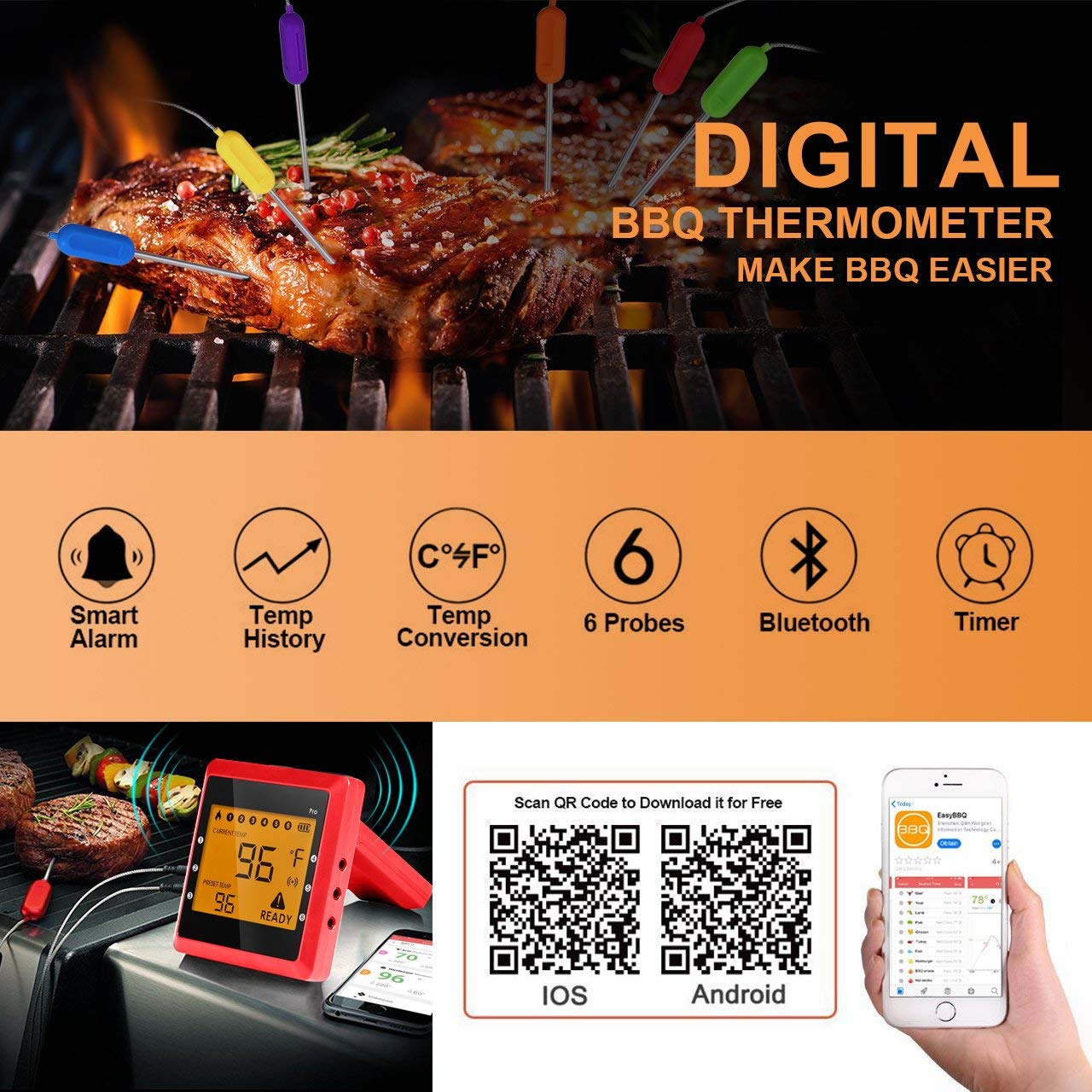 Digital Thermometer Küche, Migvela Grillthermometer mit 6 Fühler, Bluetooth Fleischthermometer Funk Bratenthermometer mit Temperaturalarm, APP Steuer mit 100M Reichweite, Wireless BBQ Thermometer Set für Smoker, Grillen, Backen, und Kochen