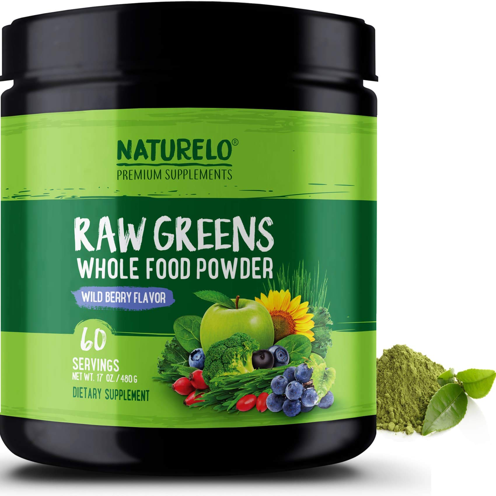 NATURELO Raw Greens Superfood Powder - Best Supplement to Boost Energy, Detox, Enhance Health - Organic Spirulina & Wheat Grass - Whole Food Vitamins from Fruit & Vegetable Extracts - 60 Servings