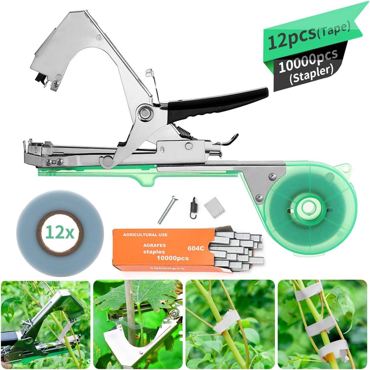 KING DO WAY kit de Herramientas, Mano Atado Cinta Máquina Agricultura Carpeta de Acero Inoxidable para la Encuadernación de Ramas para Planta Flores Frutas Verduras Vine