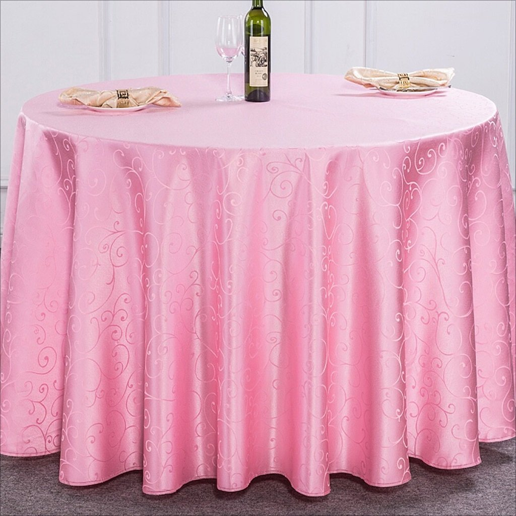 LYQZ Hotel Wedding Party Tablecloth Restaurante Polyester Table Cover Round Tamaño Wipe Clean Tablecloths (Color : Rosa, Tamaño Round : 180cm) e494a1