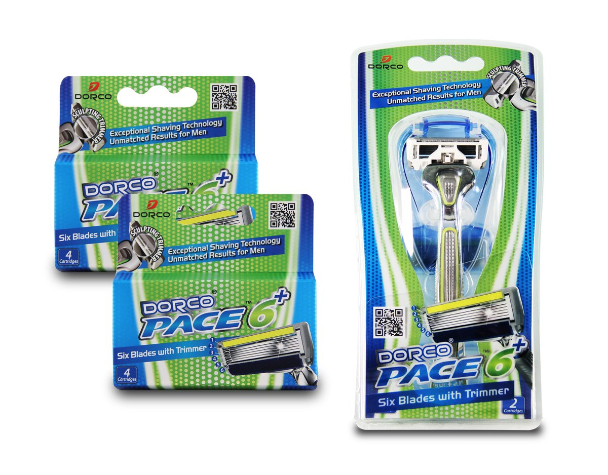 Dorco Pace 6 Plus- Six Blade Razor System with Trimmer - 10 Pack (1 Handle + 10 Cartridges) by DORCO (Image #2)