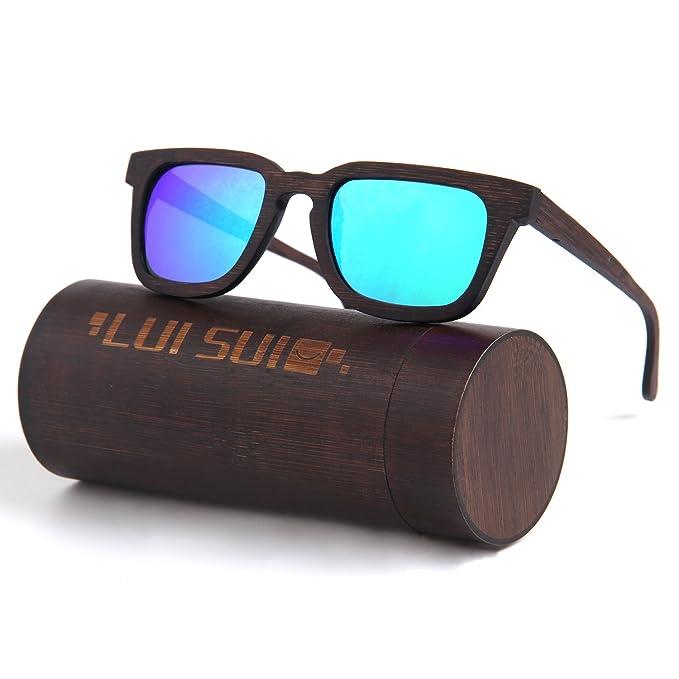 LUI SUI Estilo de madera Unisex gafas de sol retro Polarizadas UV bloqueo (Azul)