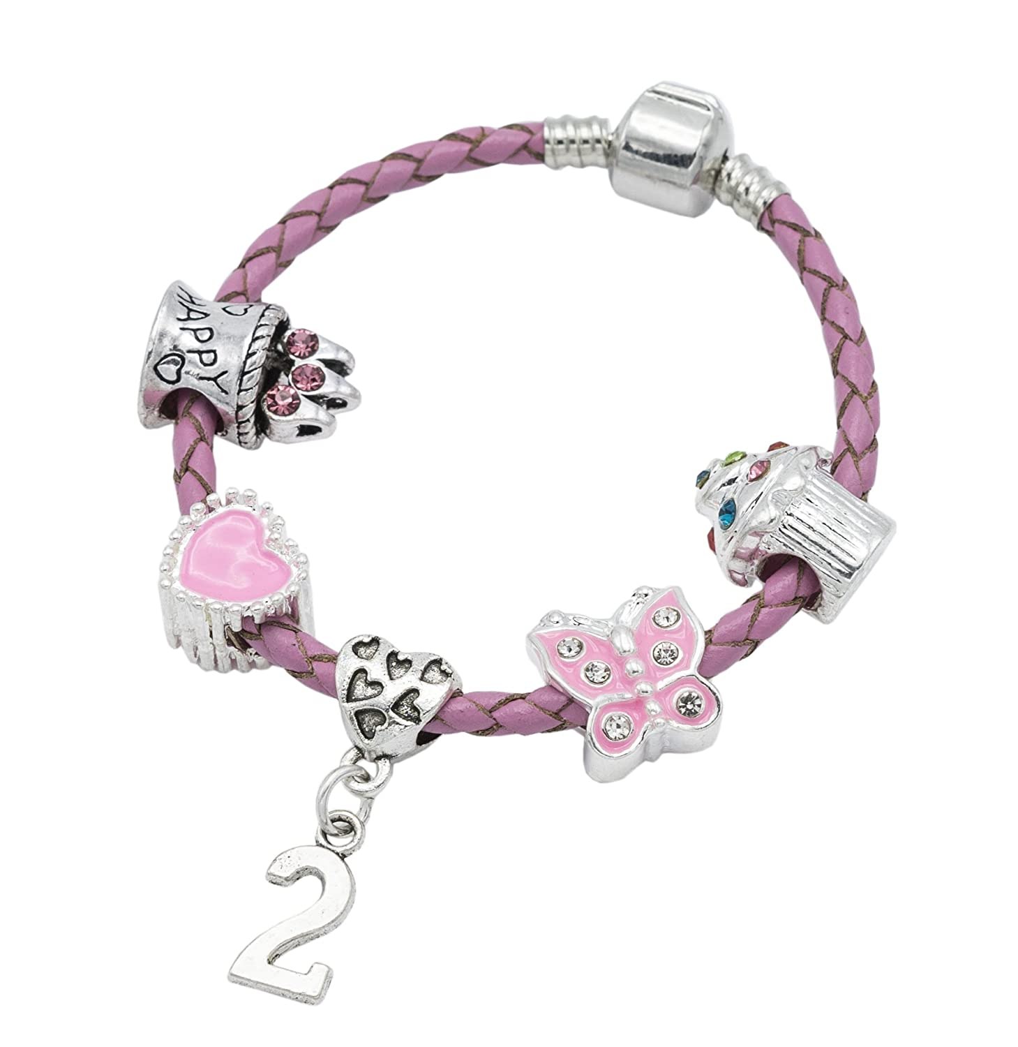 Children's Pink Leather Happy 2nd Birthday Charm Bracelet With Lovely Jewellery Hut Gift Pouch - Girl's & Children's Birthday Gift Jewellery BRKID2