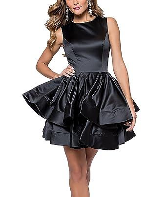 liangjinsmkj Womens Satin Short Tiered Homecoming Dresses 2018 Prom Dresses for Juniors Formal Evening Gown Black