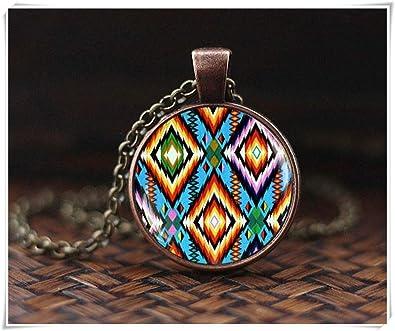 2b270799a451e Amazon.com: hong ben xie chang Colorful Art Necklace, Folk Pendant ...