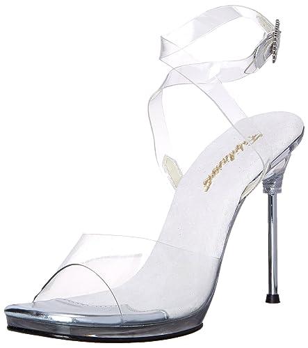 Estilosos zapatos con tacón de aguja transparente y sujección con correas transparentes.