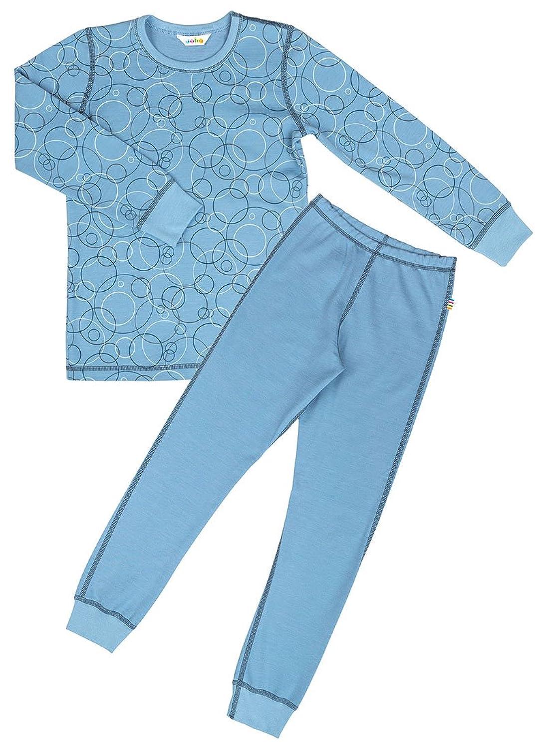 JOHA 2-teilige Jungen Funktionsunterwäsche BUBBLES aus Merinowolle und Bio-Baumwolle in blau