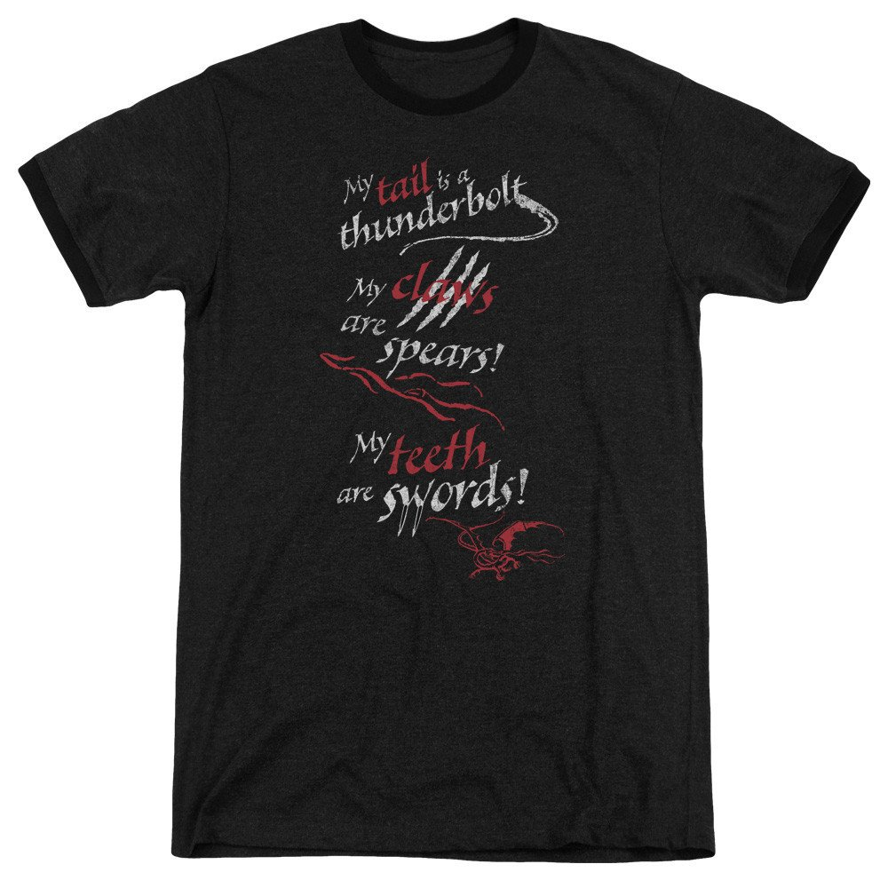 Sons of Gotham Hobbit Tail Claws Teeth Adult Ringer T Shirt XL