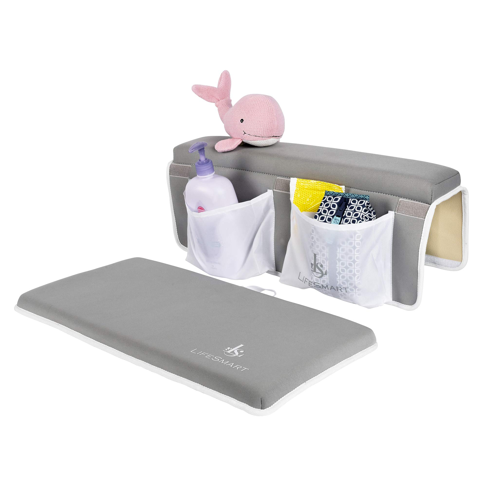 UltraPremium Lifesmart Bath Kneeler & Elbow Rest Bundle - Massive Size & Thicker Padding Than Every Other Brand - Deeper Pockets - SuperSticky Suction Cups - Quick Drying Washable Anti-Mold Neoprene by LifeSmart