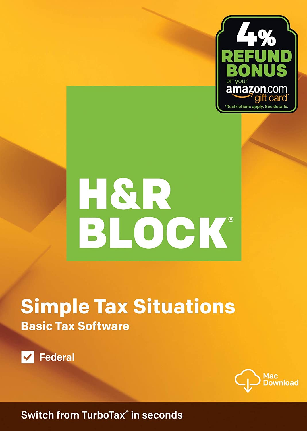 H&R Block Tax Software Basic 2019 with 4% Refund Bonus Offer [Amazon Exclusive] [Mac Download]