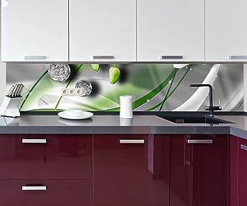 wandmotiv24 Küchenrückwand Diamant Lilie grün Nischenrückwand ...