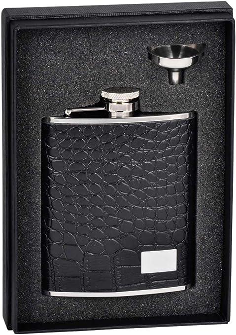 Amazon Com Visol Holiday Essential Gator Black Leather Liquor Flask Gift Set 6 Oz Silver Flasks