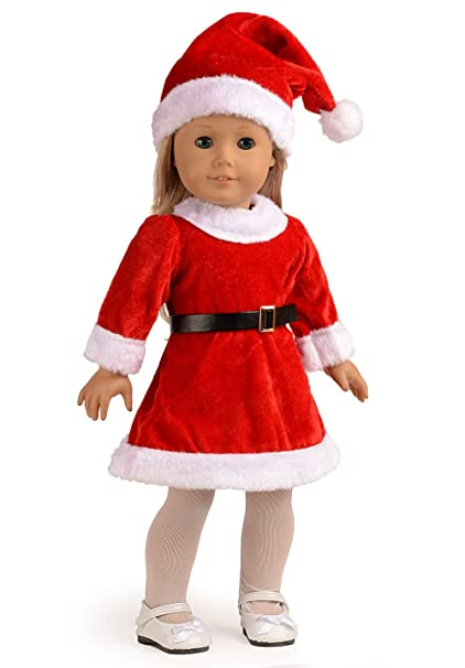 Image Unavailable. Image not available for. Color: 4pc Doll Clothes Santa Christmas  Dress Outfit Fits 18 Inches American Girl Dolls - Amazon.com: 4pc Doll Clothes Santa Christmas Dress Outfit Fits 18