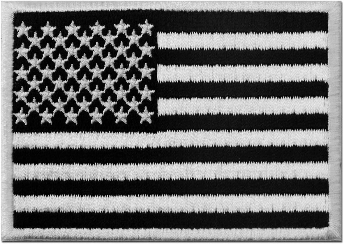Táctico Bandera estadounidense Estados Unidos de America Emblema Uniforme militar Parche Bordado de Aplicación con Plancha, Blanco negro: Amazon.es: Hogar