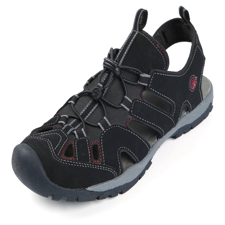 Northside Mens Burke II Sport Athletic Sandal, Black/Red, 10 M US