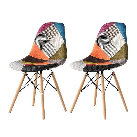Juego de 2 sillas de comedor de tela retro, con diseño de ...