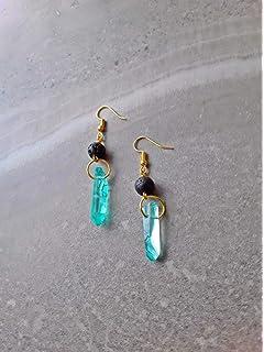 Amazon.com: Ninyeke - Pendientes de cristal ovalado natural ...
