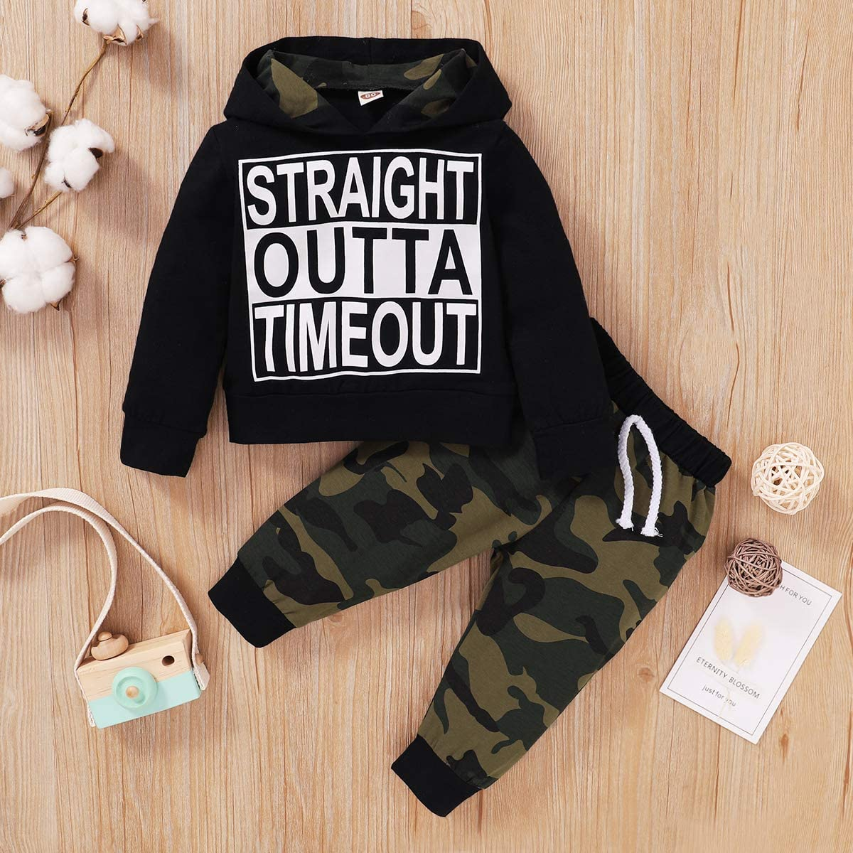 Toddler Baby Boys Clothes Letter Printed Hoodie Sweatshirt Tops+Camouflage Long Pants 2PCS Outfits Set