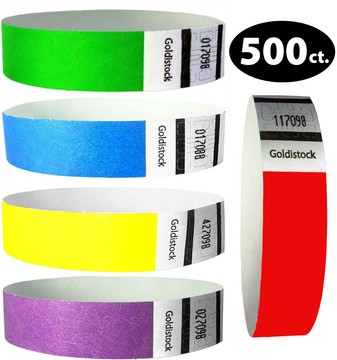 Goldistock Perfect Combo Variety Pack Set A - 500 Count (100/Color) 3/4'' Tyvek Wristbands- Neon Green, Neon Blue, Neon Red, Neon Yellow, & Neon Purple - Event ID Bands (Paper-Like Texture)