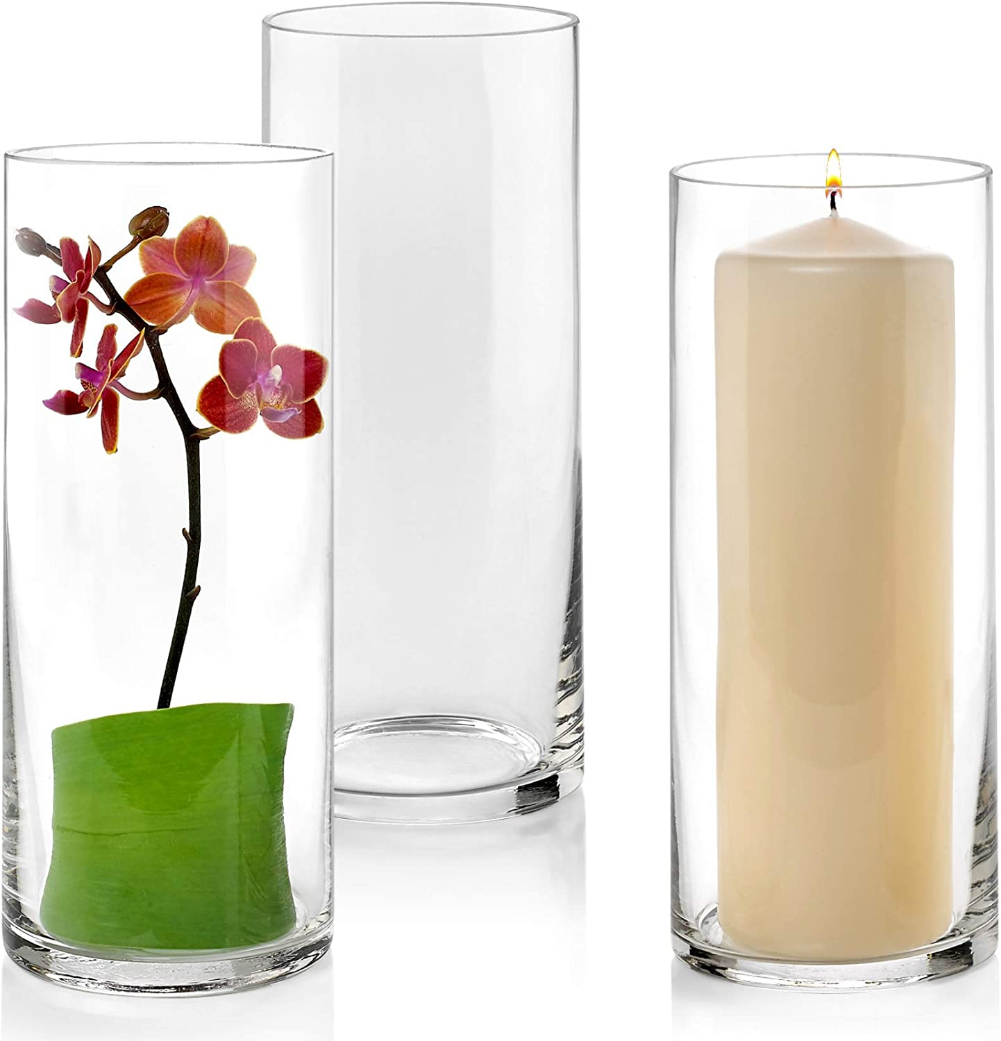 Amazon Com Set Of 3 Glass Cylinder Vases 10 Inch Tall Multi Use Pillar Candle Floating Candles Holders Or Flower Vase Perfect As A Wedding Centerpieces Kitchen Dining