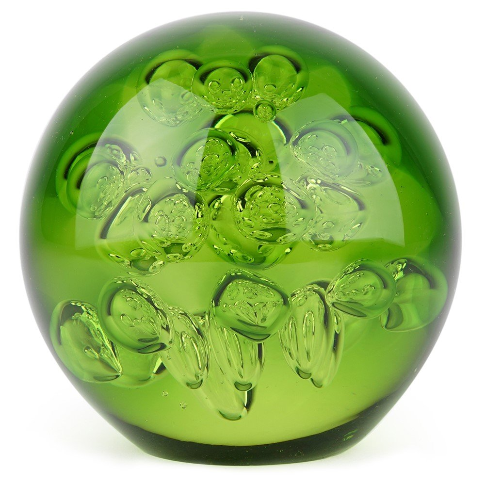 Glass Handmade Large Paperweight - Spa Bubbles - Peridot - 4'' tall. One-of-a-kind. FREE SHIPPING to the lower 48 when you spend over $35.00