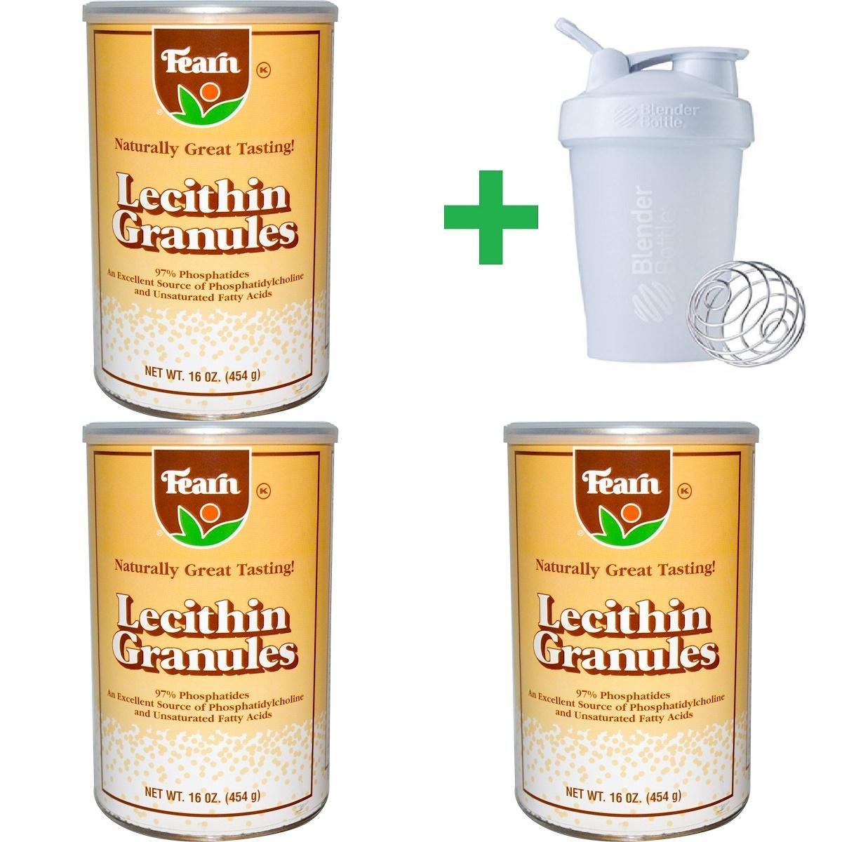 Fearn Natural Food, Lecithin Granules, 16 oz (454 g) (3 PACKS) + Assorted Sundesa, BlenderBottle, Classic With Loop, 20 oz