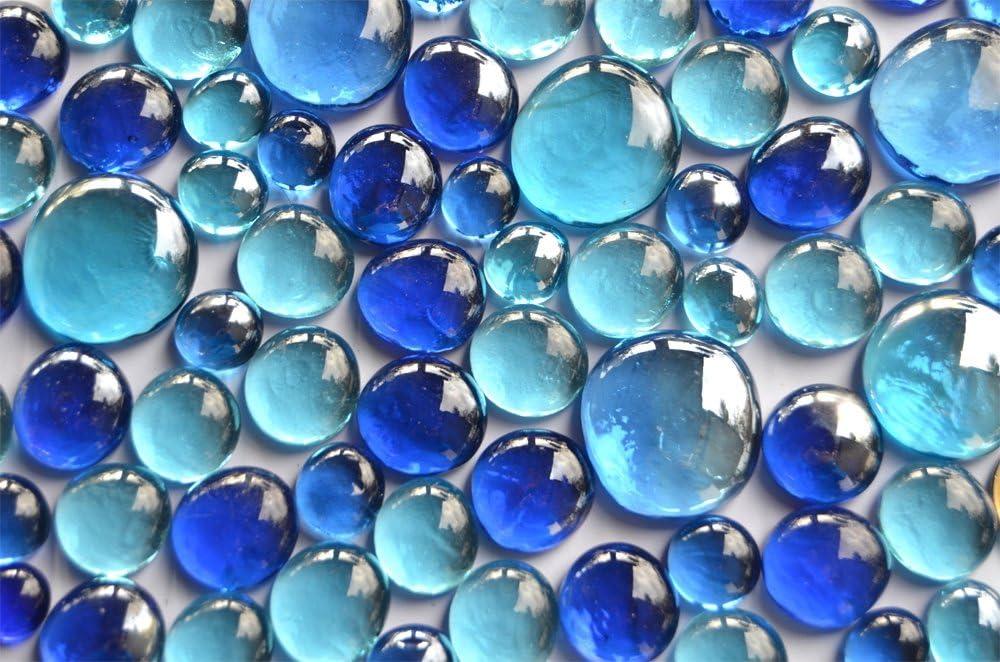 350g, nuggets de cristal, mezcla de azul, en 3tamaños: 12-15mm, 17-21mm y 26-33mm, aprox. 81piezas de piedras decorativas de cristal.