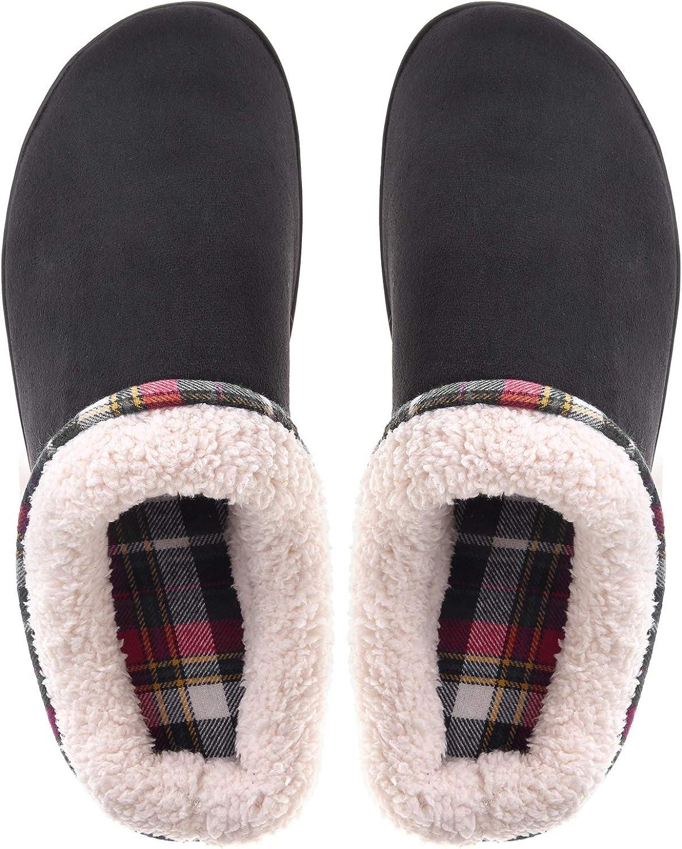 Men's Fuzzy Slippers House Shoes Memory Foam Slip On Clogs Wool Fleece Indoor Outdoor