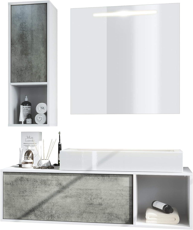 Conjunto de Muebles para baño La Costa, Cuerpo en Blanco Mate/Frentes en hormigón Oscuro con Lavabo y Espejo LED