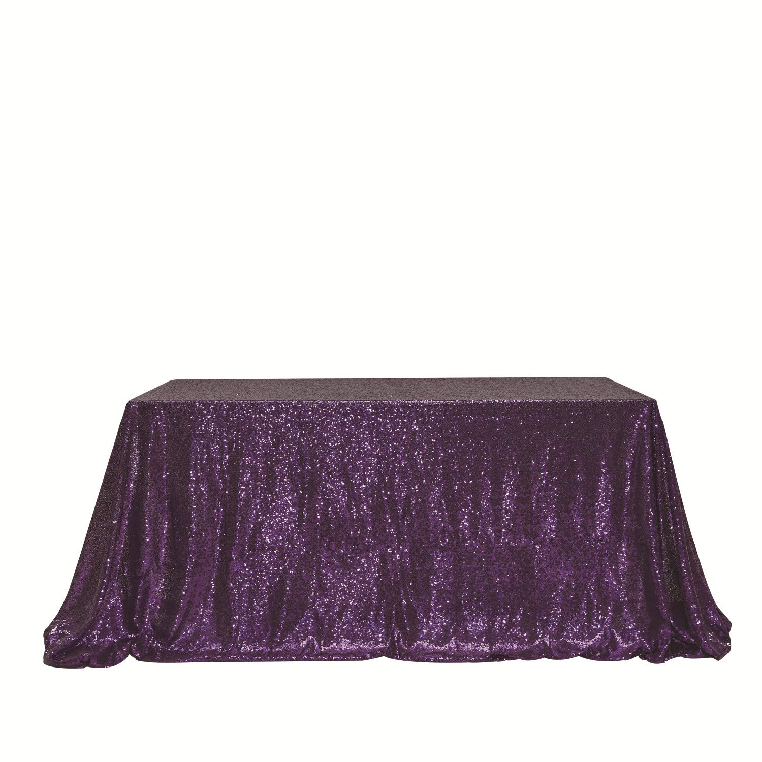 PartyDelight 90'' x 156'' Purple Sequin Tablecloth for Wedding, Baby Shower, Birthday, Banquet, Christmas, and Banquet.