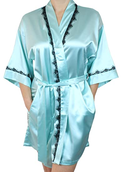 a7a4e447e7 Ms Lovely Women s Satin Kimono Bridesmaid Short Silky Bathrobe Robe with Lace  Trim