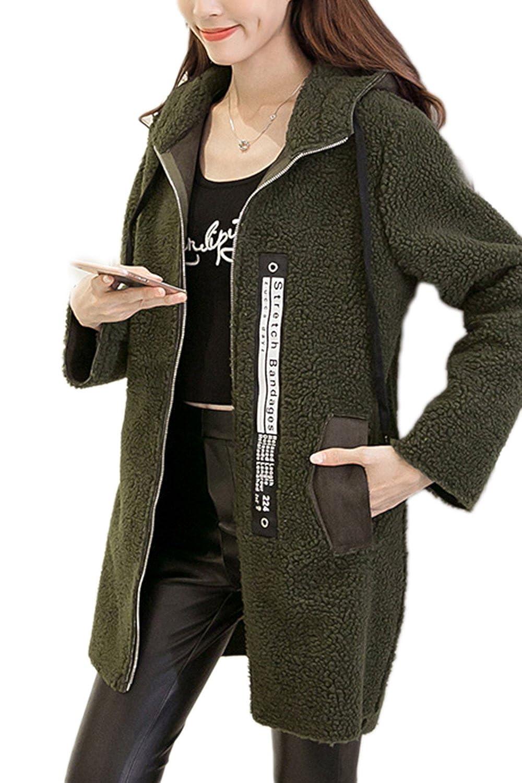 Avant occasionnel fermeture éclair ouverte des femmes laine manteau avec poches de vêtements d'extérieur