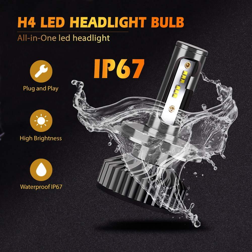 Amazon.com: Infitary H4 9003 HB2 LED Headlight Bulbs Conversion Kits High/Low Beam Auto Headlamp Car Headlight 64W 6500K 10000LM Extremely Super Bright- 1 ...