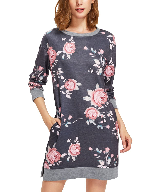 BIUBIU Women Casual Loose Long Sleeve Floral Hoodie Sweatshirt Dress with Pocket BIUBIU024C2953