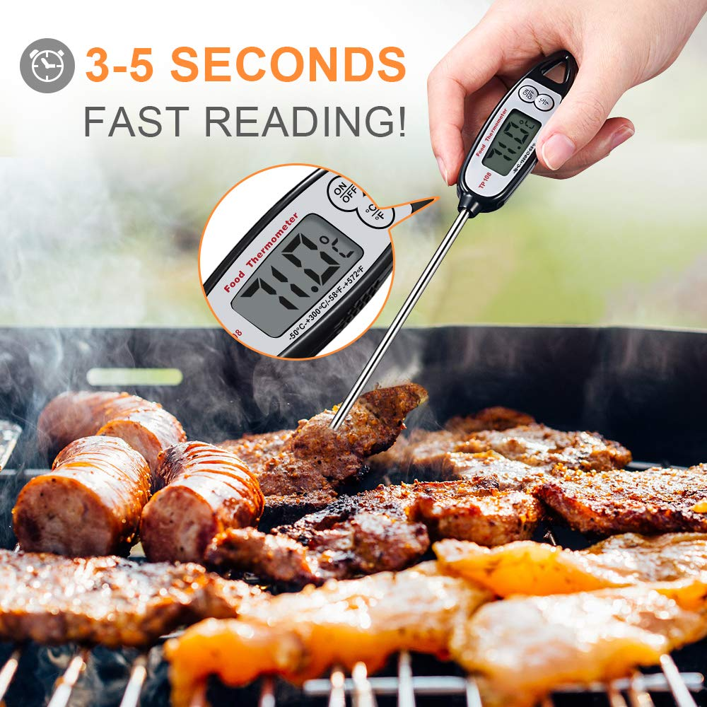 Digital Meat Thermometer, Kuger Instant Read Kitchen Thermometer for Cooking with Stainless Steel Probe, BBQ Grill Accessories (2 pack)