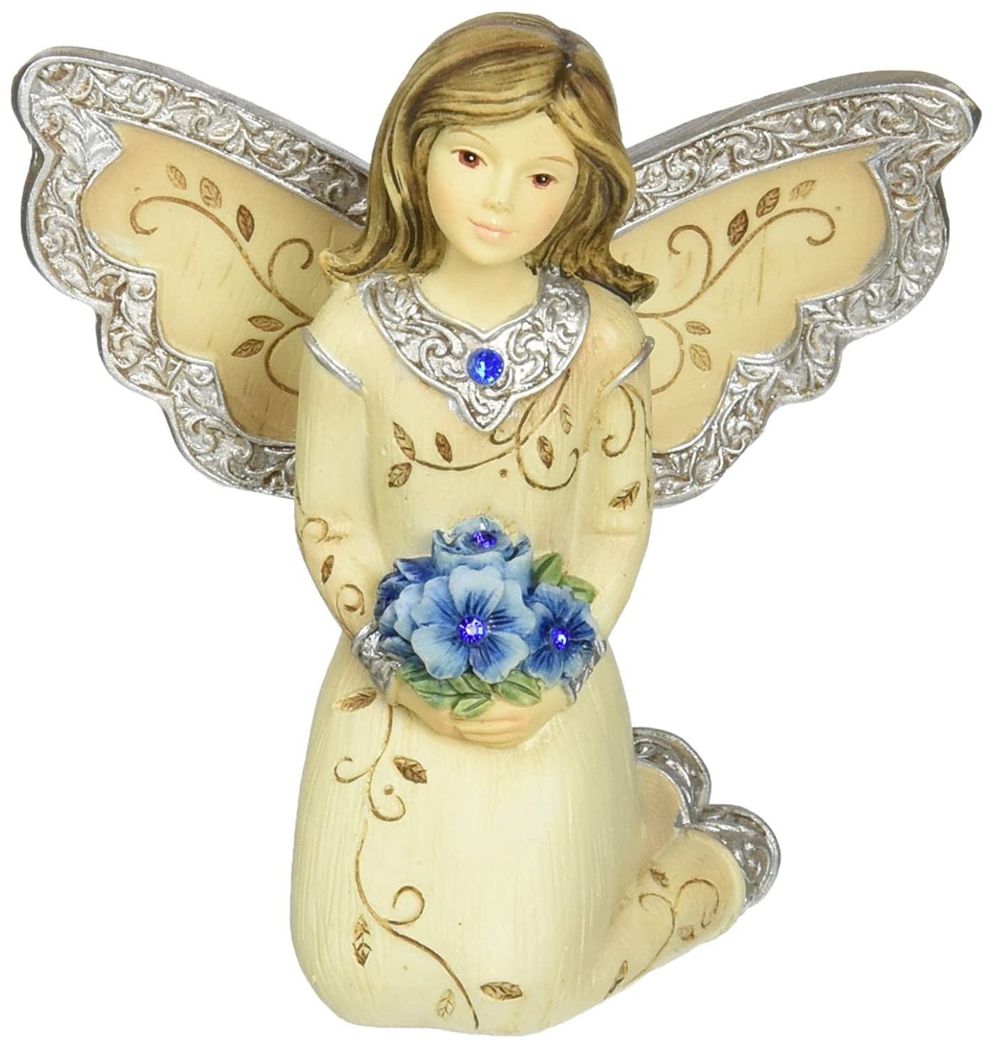 Elements September Monthly Angel Figurine, Includes Sapphire Birthstone, 3-Inch